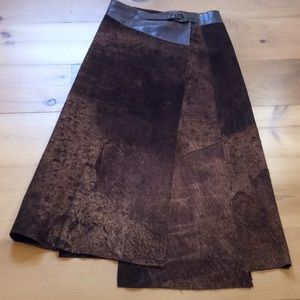OHDD Sueded leather wrap skirt